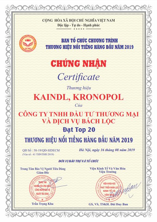 Kaindl vinh danh top 20 thương hiệu nổi tiếng hàng đầu Việt Nam 2019